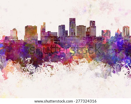 St. Paul skyline in watercolor background - stock photo