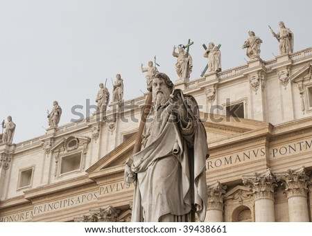 St Paul statue outside St Peter's Basilica, Vatican City, Rome, Italy