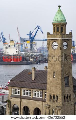 St. Pauli at the river Elbe in Hamburg, Germany - stock photo