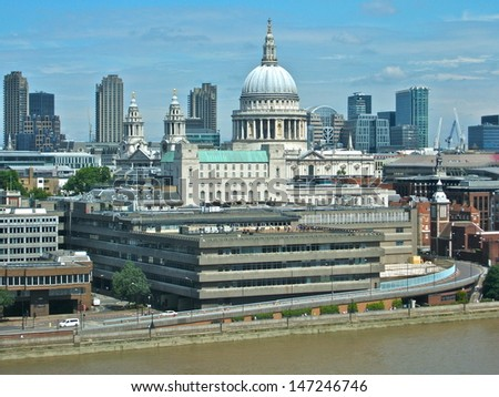 St Pauls Cathedral from the South Bank - stock photo