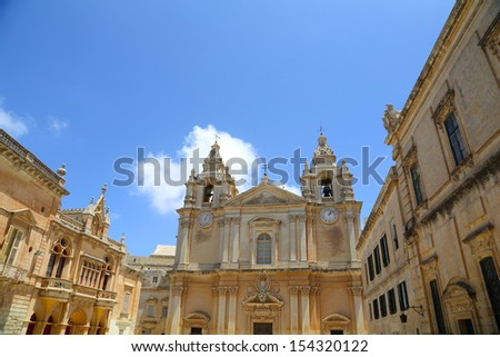 St. Pauls cathedral in Mdina, Malta. - stock photo