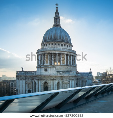 St Pauls Cathedral view from rooftop in Sunny day. London,UK