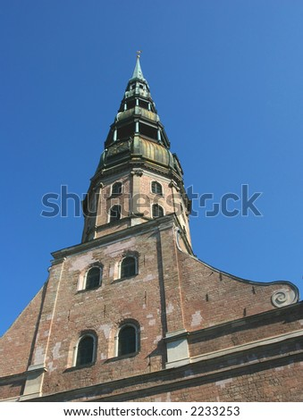 St. Peter cathedral spire. This church is the oldest in Latvia. It used to be the main cathedral during the middle ages for the inhabitants of Riga (Latvia).