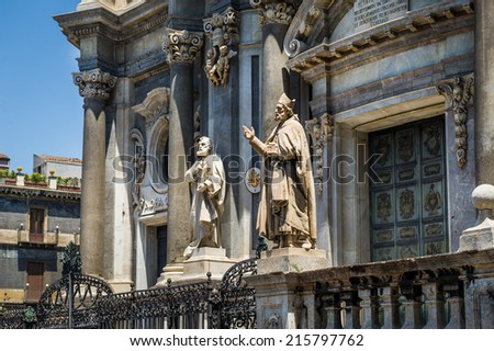 St. Peter cathedral statues of saints. Catania, Sicily, Italy - stock photo