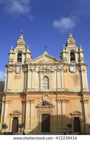 St. Peter & Paul Cathedral  in the city of Mdina, in Malta
