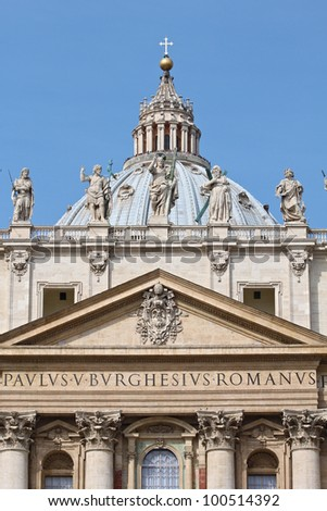 St. Peter's Basilica at the Vatican City in Rome. - stock photo