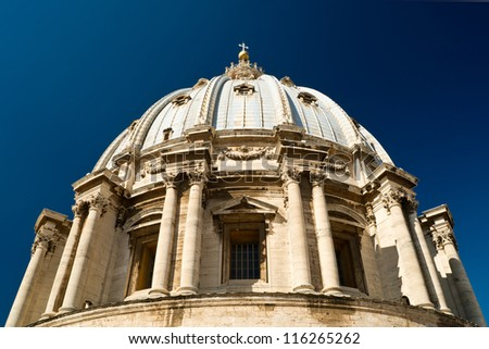 St. Peter's Basilica dome, Rome, Italy - stock photo