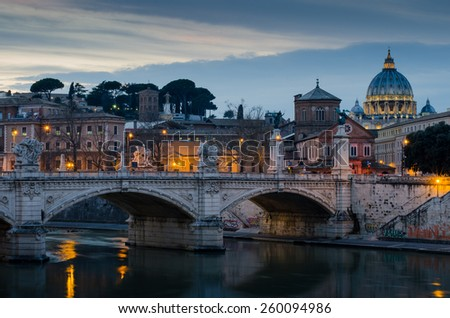 St. Peter's Cathedral in Vatican at sunset. - stock photo