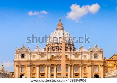 St. Peter's Cathedral  (Vatican, Rome, Italy), Renaissance architecture. One of the popualr touristic destinations in Rome - stock photo