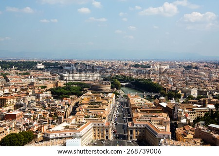 St. Peter's Square from Rome in Vatican State  - stock photo