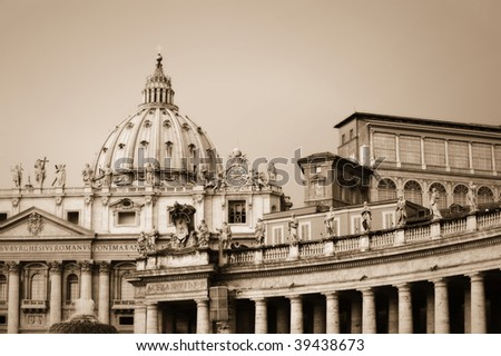 St Peter's Square, Vatican City, Rome, Italy in a sepia treatment - stock photo
