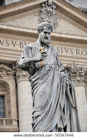 St. Peter`s statue in Vatican, Rome - stock photo