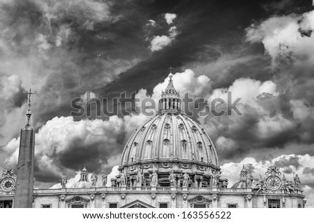 St Peter Square - Vatican City. Wonderful view of Dome - Cupola di San Pietro . - stock photo