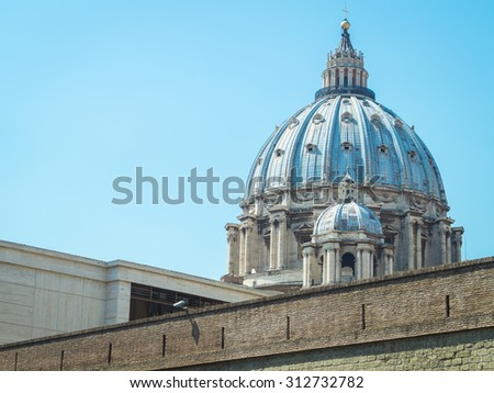 st. peters dome in vatican,rome, italy - stock photo
