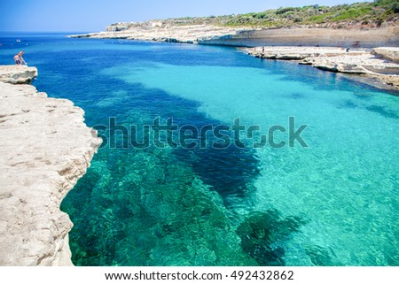 St. Peters pool - rocky beach at Malta island