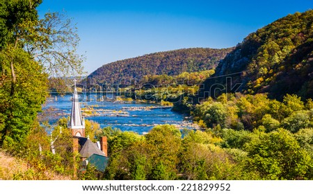 St. Peters Roman Catholic Church and the Potomac River, seen from Jefferson Rock in Harper's Ferry, West Virginia. - stock photo