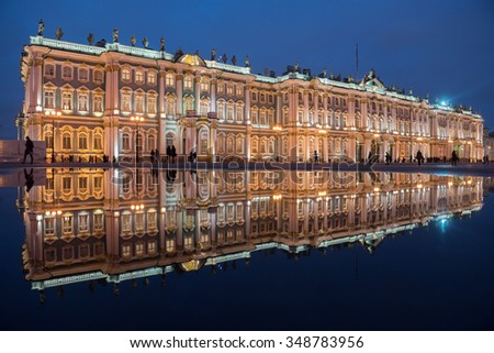 St. Petersburg. Evening. View of the Alexander Column through the arch of the General Staff.