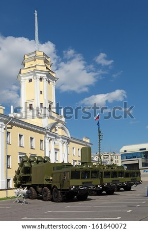 "ST.-PETERSBURG - JUL 03: Coastal missile complex BAL-E (SSC-6 ""Sennight"") on International maritime defence show (IMDS-2013) on Jul 03, 2013 at Lenexpo exhibition complex in St.-Petersburg, Russia"