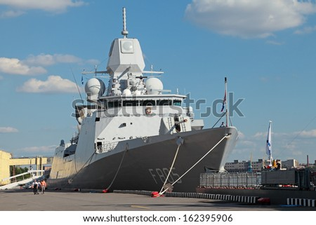 ST-PETERSBURG-JUL 03: The Frigate of the Royal Netherlands Navy Zr Ms Evertsen on International maritime defence show (IMDS-2013) on Jul 03, 2013 at Lenexpo exhibition complex in St-Petersburg, Russia
