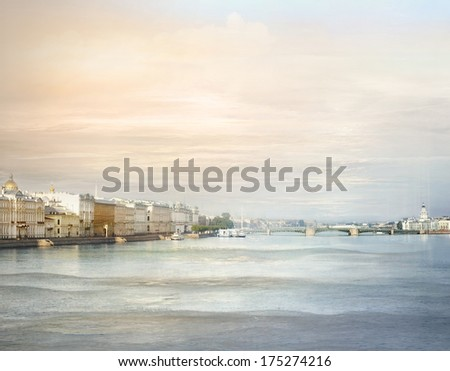 St Petersburg panoramic cityscape in pastel colors - stock photo