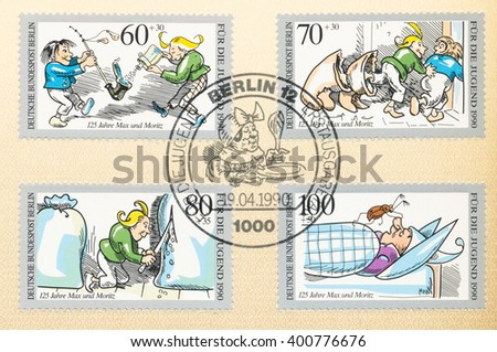 ST. PETERSBURG, RUSSIA - APR 4, 2016: A first day of issue postmark printed in Berlin, Germany, shows Max and Moritz and Bug on Uncle, by Wilhelm Busch, 125th Anniv., circa 1990 - stock photo