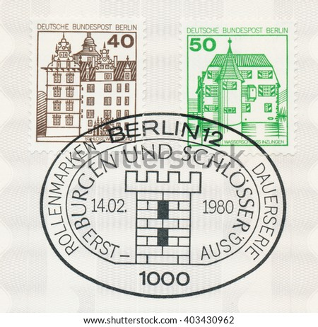 ST. PETERSBURG, RUSSIA - APR 8, 2016: A first day of issue postmark printed in Berlin, Germany, shows Wolfsburg, Inzlingen, circa 1980 - stock photo