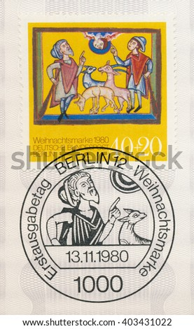 ST. PETERSBURG, RUSSIA - APR 8, 2016: A first day of issue postmark printed in Berlin, Germany, shows Christmas: Nativity, medieval manuscript, Cistercian Abbey, Altenberg, circa 1980 - stock photo