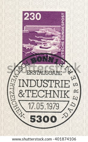 ST. PETERSBURG, RUSSIA - APR 6, 2016: A first day of issue postmark printed in Bonn, Germany, shows Frankfurt Airport, circa 1989