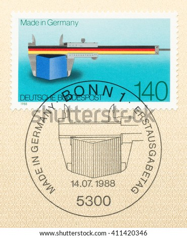 ST. PETERSBURG, RUSSIA - APR 25, 2016: A first day of issue postmark printed in Germany, shows Vernier Scale as a Symbol of Precision and Quality. Made in Germany, circa 1988 - stock photo
