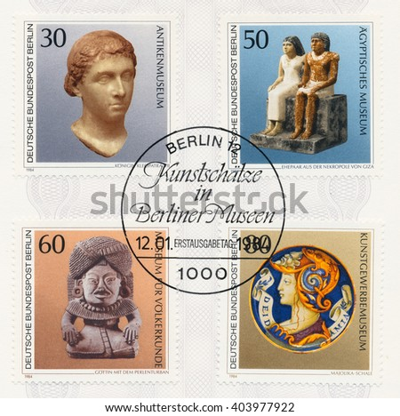 ST. PETERSBURG, RUSSIA - APR 10, 2016: A postmark Germany shows Bust of Queen Cleopatra VII. Egyptian Couple Giza, Stone God with Beaded Turban, Mexico, 300 B.C. Enamel Plate, 16th cent., circa 1984 - stock photo