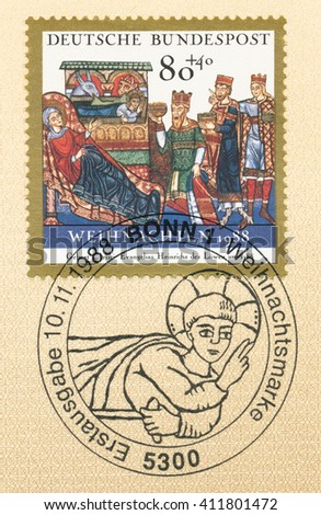 ST. PETERSBURG, RUSSIA - APR 25, 2016: A postmark Germany, shows Christmas. Illumination from The Gospel Book of Henry the Lion, Helmarshausen, 1188, Prussian Museum: Adoration of the Magi, circa 1988 - stock photo