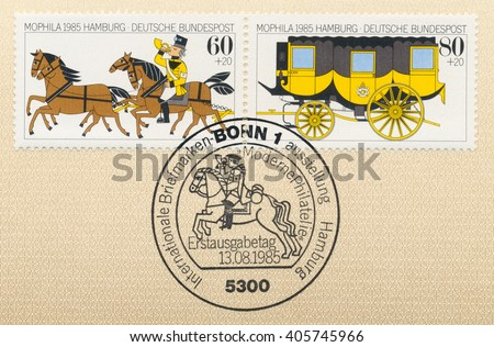 ST. PETERSBURG, RUSSIA - APR 14, 2016: A postmark Germany, shows Coachman, horses, Stagecoach. Surtax for the benefit of the Philatelic & Postal History Foundation. MOPHILA, Hamburg, Sept., circa 1985 - stock photo