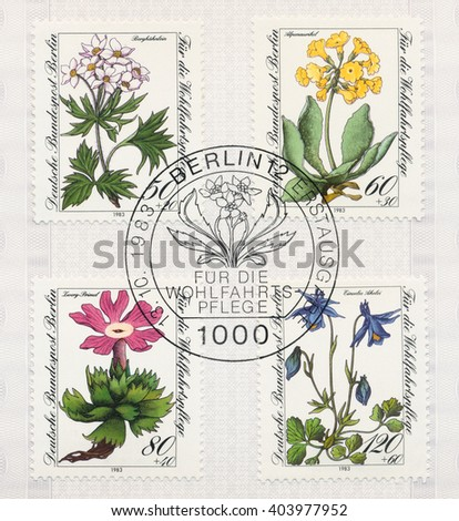 ST. PETERSBURG, RUSSIA - APR 10, 2016: A postmark printed in Berlin, Germany, shows Flower Type of Germany: Mountain wildflower. Alpine auricula. Little primrose. Einseles aquilegia, circa 1983 - stock photo