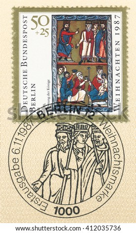 ST. PETERSBURG, RUSSIA - APR 27, 2016: A postmark printed in Germany, shows Christmas. Illustration from Book of Psalms, 13th cent., Bavarian Natl. Museum: Adoration of the Magi, circa 1987 - stock photo