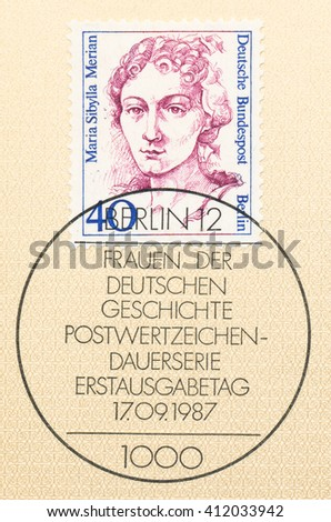 ST. PETERSBURG, RUSSIA - APR 27, 2016: A postmark printed in Germany, shows portrait of Maria Sibylla Merian (1647-1717) was a German-born naturalist and scientific illustrator, circa 1987 - stock photo