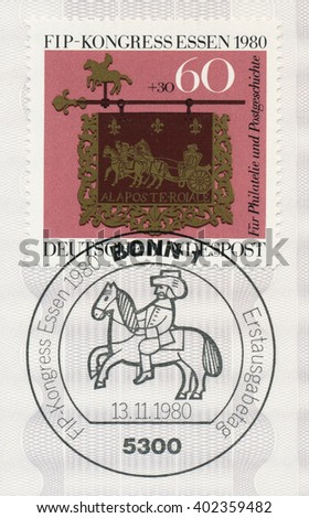 ST. PETERSBURG, RUSSIA - APR 7, 2016: A postmark printed in Germany, shows Post House Sign, 1754, Altheim, Saar and rider. 49th FIP Congress (Federation Internationale Philatelie), Essen, circa 1980 - stock photo