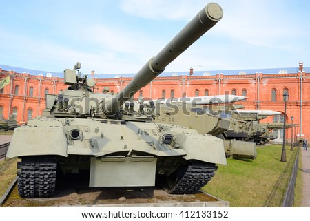 ST.PETERSBURG, RUSSIA - 17 APRIL 2016: Russian tank T-80 in Military Artillery Museum. T-80 - main battle tank produced in the USSR. Armed with the army of the USSR since 1976