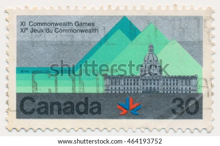 ST. PETERSBURG, RUSSIA - AUGUST 2, 2016: A postmark printed in CANADA, shows Alberta Legislature building, 11th Commonwealth Games, Edmonton, Aug. 3-12, circa 1978