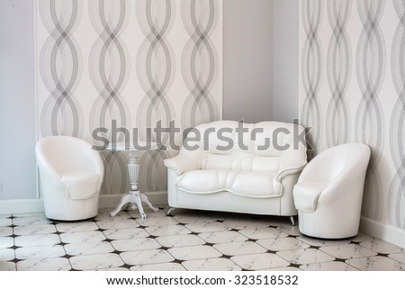 "St. Petersburg, Russia, 12 August 2015, banquet hall of restaurant ""the Robin"", white furniture. Interior in white colors. Soft white furniture, sofa and chairs. Recreation area.  - stock photo"