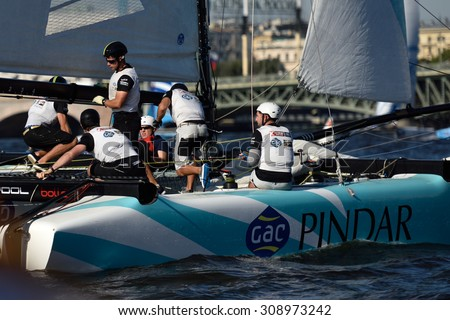 ST. PETERSBURG, RUSSIA - AUGUST 21, 2015: Catamaran of GAC Pindar sailing team of United Kingdom during the 2nd day of St. Petersburg stage of Extreme Sailing Series - stock photo