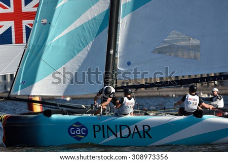 ST. PETERSBURG, RUSSIA - AUGUST 20, 2015: Catamaran of GAC Pindar sailing team of United Kingdom during the 1st day of St. Petersburg stage of Extreme Sailing Series. Red Bull Sailing Team won the day - stock photo