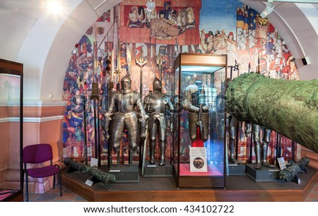 ST.PETERSBURG, RUSSIA - AUGUST 8, 2015: Interior of one of the halls of the Museum of Artillery