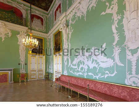 ST.PETERSBURG, RUSSIA - AUGUST 3: Interior of Stroganov Palace in August 3, 2012 in St.Petersburg, Russia.  Palace was built to Rastrelli's designs in 1753-1754. Now - branch of the Russian Museum