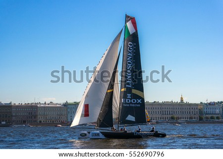ST. PETERSBURG, RUSSIA - AUGUST 21, 2015: On the 6th act of Extreme Sailing Series race.