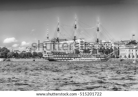 ST. PETERSBURG, RUSSIA - AUGUST 27: View of the Frigate Grace on Petrovsky Embankmet across the Neva river, St. Petersburg, Russia, August 27, 2016.