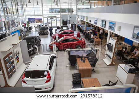 ST. PETERSBURG, RUSSIA - CIRCA APR, 2015: Top view of car dealership showroom. The Rolf Lahta is a official dealer of Hyundai - stock photo