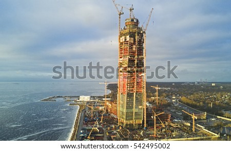 ST. PETERSBURG, RUSSIA - DEC 25,2016.Aerial close-up view: Construction of a largest in Europe high-altitude building. Lakhta Center, mixed-use non-residential construction project in Saint Petersburg