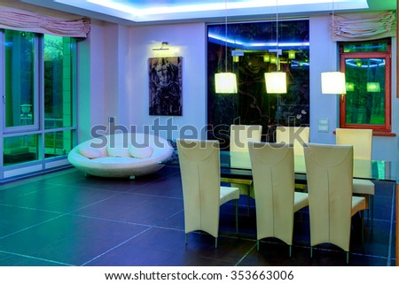 St. Petersburg, Russia - December 16, 2011: Dining room in apartment block of flats