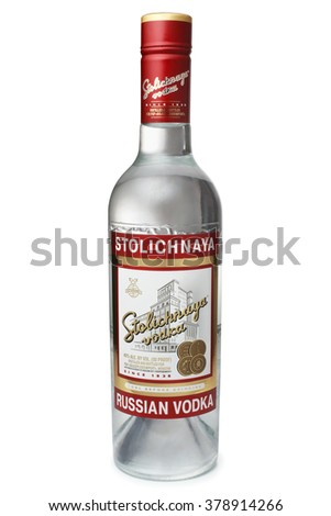 ST. PETERSBURG, RUSSIA - February 09, 2016: Bottle of Vodka Stolichnaya (Stoli) alc.40%, SPI Group - stock photo