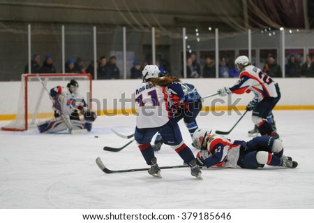 ST. PETERSBURG, RUSSIA - FEBRUARY 17, 2016: Women's ice hockey match Dinamo Saint-Petersburg vs Biryusa Krasnoyarsk. The teams fighting for 3rd place in Russian women's ice hockey championship